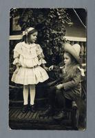 Portrait of two children, Lois Smith and Gussie Harn, House of David, Benton Harbor, Michigan [front]