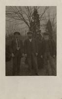 Portrait of Leslie Bowers, Walter Scott and and unknown man, House of David, Benton Harbor, Michigan [front]
