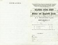 Shakers' Order Sheet, Flower and Vegetable Seeds, D. C. Brainard, Agent, Mount Lebanon, New York