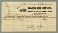 Bill of Sale of the Shaker Seed Company, Mount Lebanon, New York [side 1]