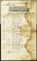 Bill of Sale of the Shaker Seed Company, Mount Lebanon, New York