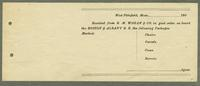 Receipt for R.M. Wagan & Co., Pittsfield, Massachusetts [side 1]
