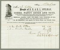 Bill of Sale of B.R. & R.L. Spelman, Albany, New York