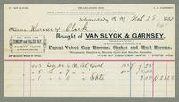 Bill of Sale of Van Slyck & Garnsey, Schenectady, New York