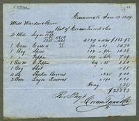 Bill of Sale of Coram Ture[?] & Co., Made Out to Mess. Waren & Burr, Cincinnati, January 29, 1849