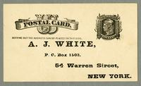 Envelope of A.J. White, P.O. Box 1503, 54 Warren Street, New York