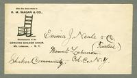 Envelope from R.M. Wagan & Co., Mt. Lebanon, New York to Emma J. Neale & Co., Shaker Community, Mount Lebanon, New York