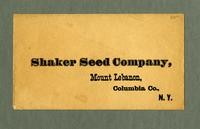 Envelope addressed to Shaker Seed Company, Mount Lebanon, Columbia Co., New York