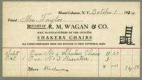 Bill of sale of R.M. Wagan & Co., Mount Lebanon, New York