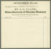 Bill of sale of Windermere Mills, J.G. Clark, Tilton, New Hampshire, consigned to Messrs. Kibbe, Chaffee & Co.