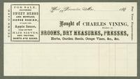 Bill of sale of Charles Vining, West Gloucester, Maine