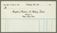 Bill of sale of Prudence A. Stickney, Trustee, Manufacturer of Shaker fancy goods, Sabbathday Lake, Maine