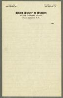 Letterhead for the United Society of Shakers, Walter Shepherd, Trustee, Mount Lebanon, New York