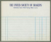 Bill of sale of The United Society of Shakers, Sabbathday Lake, Poland Spring, Maine