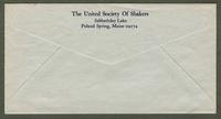 Envelope of The United Society of Shakers, Sabbathday Lake, Poland Spring, Maine