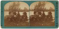 Boys eating apples at the edge of Mill Pond