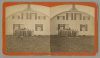 Children posed in front of building, Shaker Village, Enfield, New Hampshire