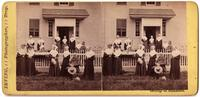 Group of Shakers posed outside of building