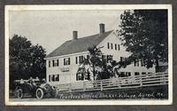 Trustees' Office, Shaker Village, Alfred, Me. [pictured: Lucinda, Lucinda's sister on the front seat of Auto, Edith in the back, and Ida and Stephen [Goings?] on the hay] [front]