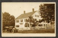 Trustee's Office - Alfred, Maine [pictured: Lucinda, Lucinda's sister on the front seat of Auto, Edith in the back, and Ida and Stephen [Goings?] on the hay] [front]