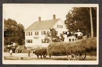 Lucinda's house, Shaker Village, Alfred Maine [pictured: Lucinda, Lucinda's sister on the front seat of Auto, Edith in the back, and Ida and Stephen [Goings?] on the hay]