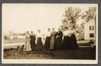 Shaker women, Alfred, Maine [pictured: Mrs. Brock, Mrs Nickerson, Aunt Sarah Brock, (Doctor's Aunt), Lucinda (Taylor?), Mary (?), Edith (?), Miss Addie Brock (Doctor's Sister) and Eldress Fannie (?)] [front]