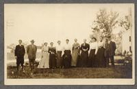 Shaker women and men at Alfred, Maine [pictured: Mrs. Brock, Mrs Nickerson, Aunt Sarah Brock, (Doctor's Aunt), Lucinda (Taylor?), Mary (?), Edith (?), Miss Addie Brock (Doctor's Sister), Eldress Fannie (?) and three unidentified men] [front]