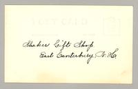 Shaker Gift Shop, East Canterbury, N. H. [L - R: Marguerite Frost, Ida Crook and a customer] [back]