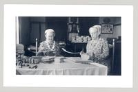 Bertha Lindsay and Lillian Phelps making imitation popular sewing boxes, Canterbury, New Hampshire
