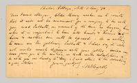 Postcard from J. N? Hurtly?, Shaker Village, New Hampshire, August 1, 1874, to George S. Morgan, Bradford, Sullivan County, New Hampshire [back]