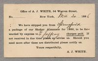 Postcard from the Office of A. J. White, 54 Warren Street, New York, March 30, 1886 to Joseph L. Bigelow, Jaffrey, New Hampshire