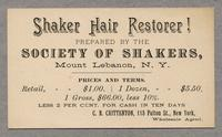 Postcard of Shaker Hair Restorer!, Lebanon, New York [front]
