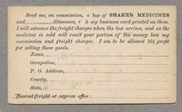 Postcard; Order form for Shaker Medicines, Mt. Lebanon, New York [front]