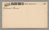 Postcard from the Office of Shaker Seed Company, Mt. Lebanon, New York [front]