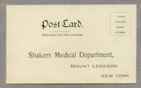 Postcard order form for Norwood's Tincture Veratrum Viride, Mt. Lebanon, New York [back]