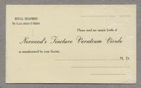 Postcard order form for Norwood's Tincture Veratrum Viride, Mt. Lebanon, New York