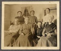 Agnes Stebbins, Latte, Jennie Wells, Ella Winship, Marie Shaw, Mrs. Shaw, and Lavina Dutcher