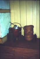 Baskets and buckets in room at Snow Hill Cloister