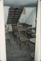 Boarded dormer and chairs in attic at Snow Hill Cloister