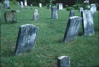 Benjamin Specht's, Henry Bauman's, and Henry Ritter's grave markers at Snow Hill Cloister