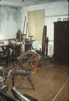Spinning wheels in inventory room at Snow Hill Cloister