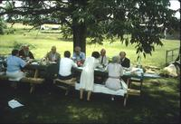 Women and men at picnic dinner following Sabbath service at Snow Hill Cloister