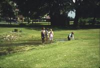 Children playing in creek at Snow Hill Cloister