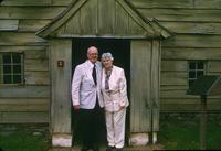 Man and woman standing near building at Ephrata Cloister