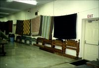 Bed boards and blankets in Horst Auction House at Ephrata, Pa.