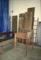 Desk, benches, and boards in Horst Auction House at Ephrata, Pa.
