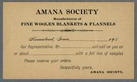 Call card, Amana Society [front]
