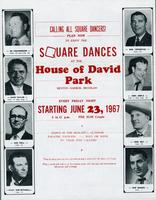 Calling all square dancers! Plan now to enjoy the square dances at the House of David Park, Benton Harbor, Michigan [front]