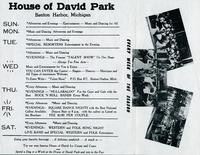 Calling all square dancers! Plan now to enjoy the square dances at the House of David Park, Benton Harbor, Michigan [back]