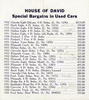 House of David special bargains in used cars